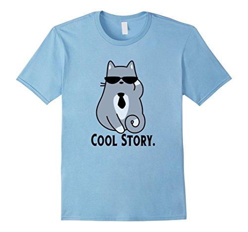 Mens COOL STORY Cat thumbs up funny mens boys kids womens tshirt 2XL Baby Blue (Halloween Catholic Story)