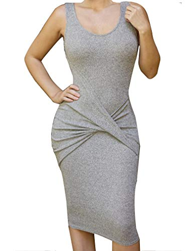 (Allegrace Womens Sleeveless Sexy Bodycon Midi Bandage Party Evening Dresses Gray M)