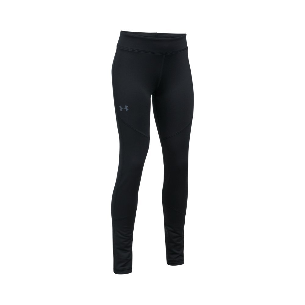Under Armour Girls' ColdGear Leggings,Black (001)/Apollo Gray, Youth Small