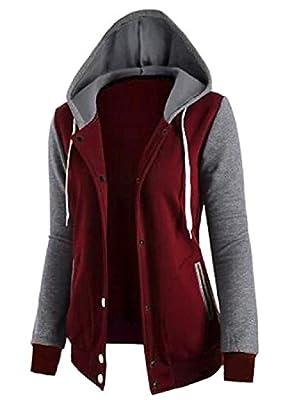 SportsX Womens Hit Color Sweatshirts Hoodies Cardigan Jacket Outwear