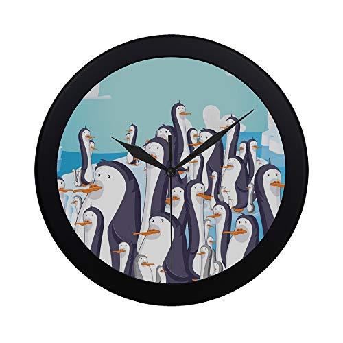 YKNFIS Modern Simple Penguins Antarctica On Floating Iceberg Wall Clock Indoor Non-Ticking Silent Quartz Quiet Sweep Movement Wall Clcok for Office,Bathroom,livingroom Decorative 9.65 ()