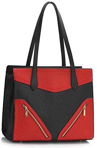 Designer Red 37x14 00405 Women's Bags Black Handbags Shoulder Ladies Shopper Tote Bag Nice Large Oversize LeahWard 5x30cm pqf7n86ww
