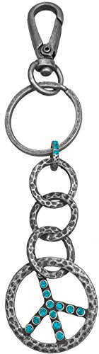 Luna Sosano's Premium Quality Peace Sign Key Chain - Antique Silver/Turquoise Antique Gold Peace Sign