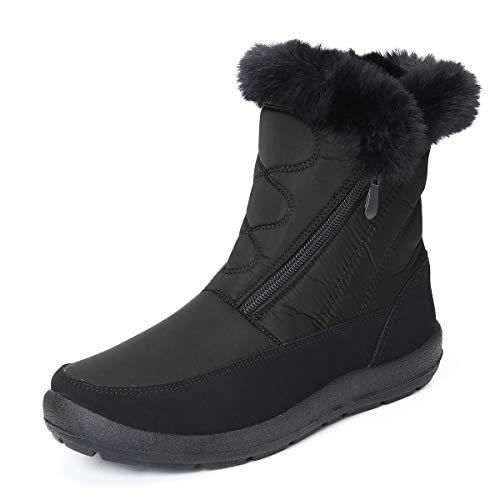 gracosy Snow Boots for Women Men, Warm Ankle Boots Waterproof Outdoor Slip On Fur Lined Winter Short Booties Anti-Slip Comfort Zipper Shoes Black 6 Women / 5 Men