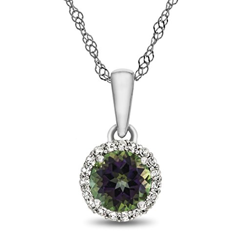 Finejewelers 10k White Gold 6mm Round Mystic Topaz with White Topaz accent stones Halo Pendant Necklace ()