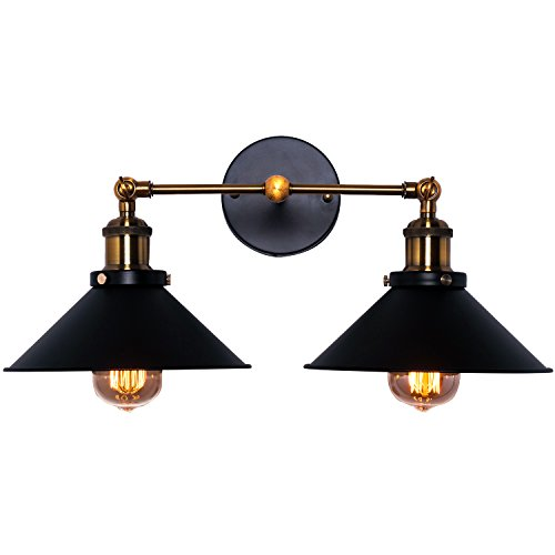 Wall Sconce Lighting Shade, Topotdor Industrial Edison Simplicity 2 Light Wall Mount Light Sconces Aged Steel Finished ()