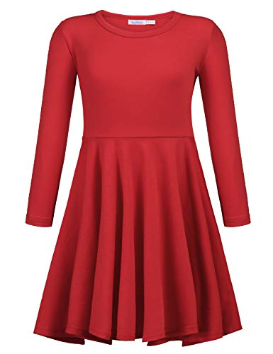 Arshiner Girls ' Cotton Long Sleeve Twirly Skater Party Dress, Red, 130(Age for 8Years) for $<!--$16.99-->