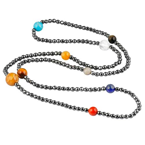 (Solar System Bracelets   Universe Galaxy The Nine Planets Guardian Star Hematite Beads Bracelets & Necklace   for Unisex )