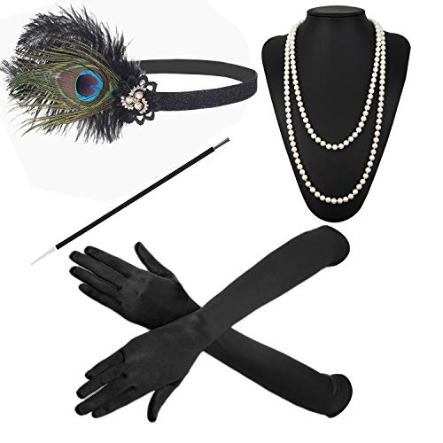 1920s Accessories Feather Jewel Headband Faux Pearl Necklace Gloves Cigarette Holder by ZeroShop ()