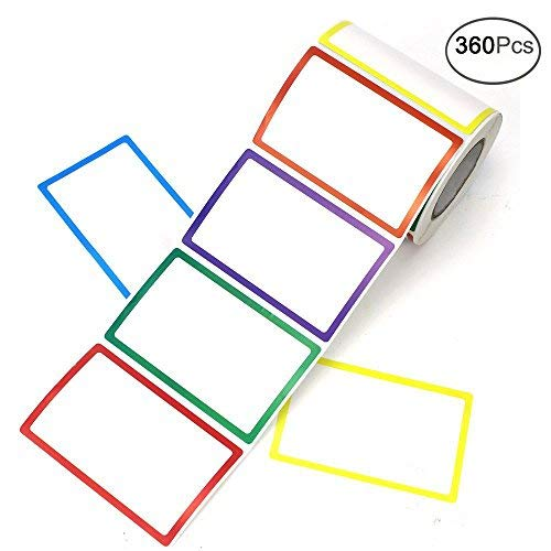 "APLANET 360pcs Colorful Plain Name Tag Labels Stickers, 3 1/2""x2 1/4"", 6 Colors"