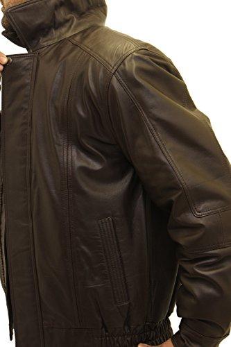 Zipper Pelle Da Castano Uomini Di Scuro Il Rivestimento Bombardiere Blouson Elegante Classicohe Collare Vera AzYAwqI