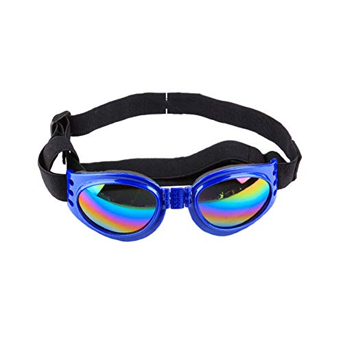 LeSharp Dog Accessories, Foldable Dog Sunglasses Wind-Proof Anti-Picking UV Proof Glasses Pet Supplies – Blue