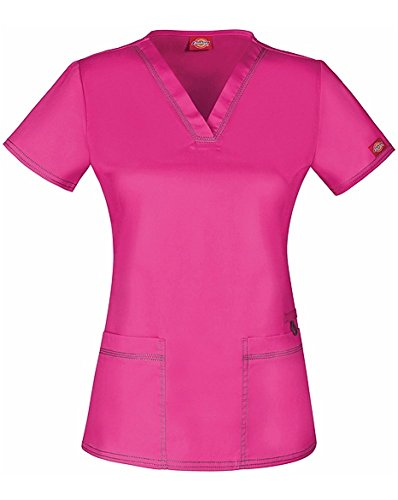Gen Flex by Dickies Women's V-Neck Solid Scrub Top Large