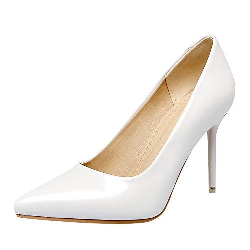 Mee Shoes Women's Chic High Heel Stiletto Pointed Toe Solid Color Court Shoes White QlIO7k