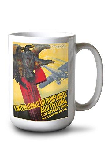I Internationale Luftschiffahrts Ausstellung Vintage Poster (Artist: Codognato) Italy c. 1935 (15oz White Ceramic Mug) (Codognato Poster)