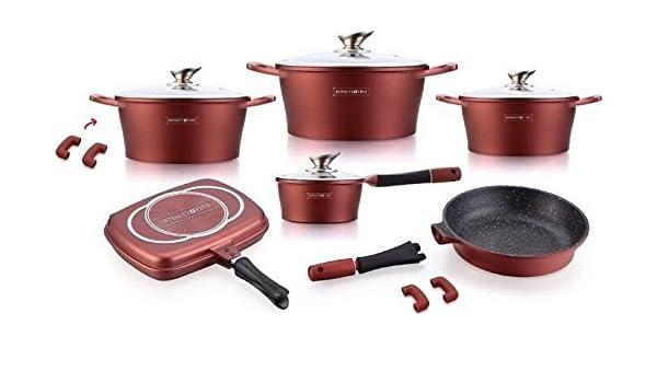 Koch Line KL-ES1015 M 15pcs batería de cocina de - revestimiento de cerámica con estufa doble parrilla (Copper): Amazon.es: Hogar