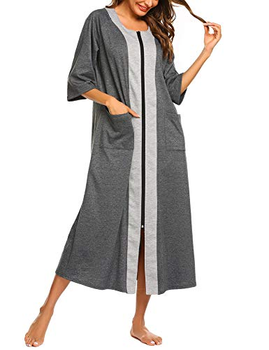 Ekouaer Loungewear Bathrobes for Women Short Sleeve Cotton Nightgowns XL House Dress with Zipper(Grey,XL) (Short Sleeve Robe Cotton)