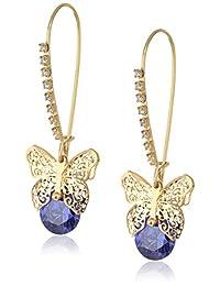 "Betsey Johnson ""Cubic Zirconia Critter"" Cubic Zirconia and Butterfly Long Drop Earrings"