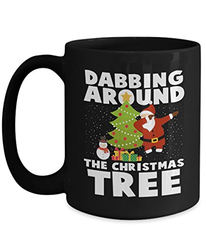 - Funny Christmas Mug - Santa Dabbing Around The Christmas Tree With Snowman Funny Xmas Gift For Husband, Boyfriend, Boys, Girlfriend, Wife, Girls, Men