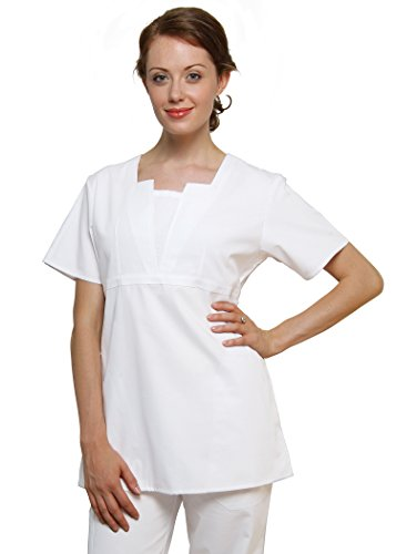 Adar Universal Split V Tunic Top - 619 - White - L (Animal Morph Suits)
