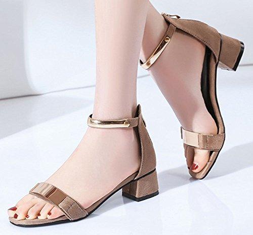 Sandalo Donna Easyemax Metà Tacco Alto Con Cerniera Sandalo Open Toe Cinturino Alla Caviglia Con Decorazioni Mentali Beige