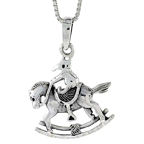 (Sterling Silver Rocking Horse Pendant, 3/4 inch tall)