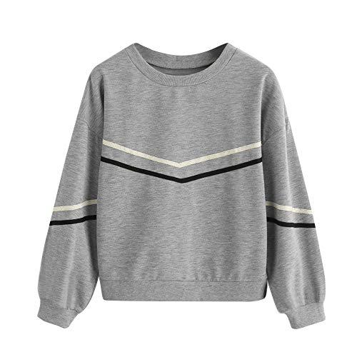 - Women's Hoodies, FORUU Long Sleeve Stripe Tape Drop Shoulder Sweatshirt O-Neck Pullover Blouse