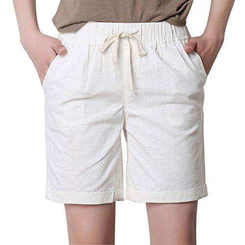 Chartou Women's Modest Loose Elastic-Waisted Bermuda Drawstring Casual Shorts (Large, White)