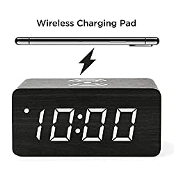 Wooden Digital Alarm Clock with Wireless Charging, 3 Alarms LED Display, Sound Control and Snooze Dual for Bedroom, Bedside, Office