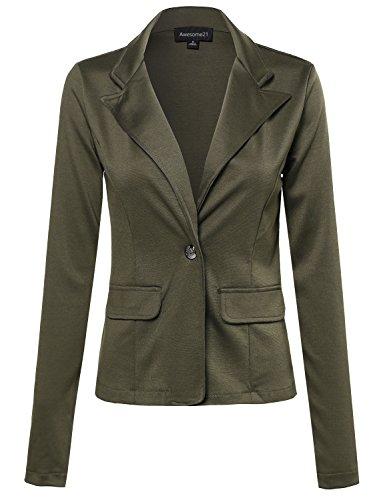 Single-Breasted+Knit+Blazer+Olive+Size+M