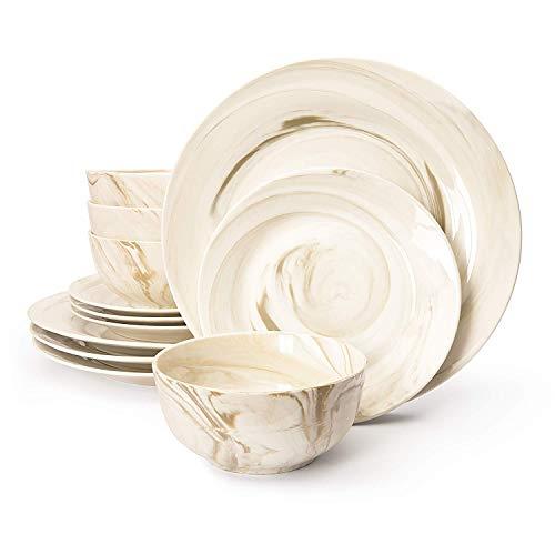 Divitis FUSION Porcelain Dinnerware Set 12 Piece, Brown Round Plates Soup Bowls, Dinner Plates, Salad Plates , Porcelain Dinnerware Set, Dinnerware Set, Dinner Plates, Plates and Bowls Sets