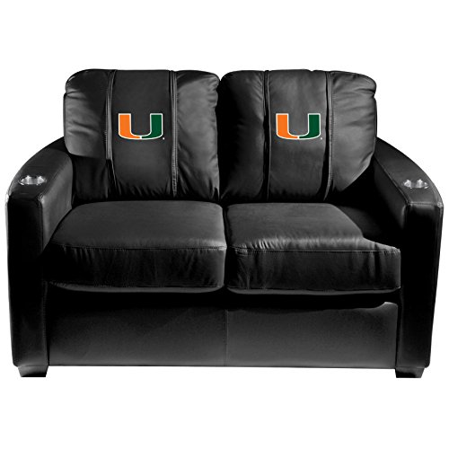 XZipit College Silver Loveseat with Miami Hurricanes Logo Panel, Black