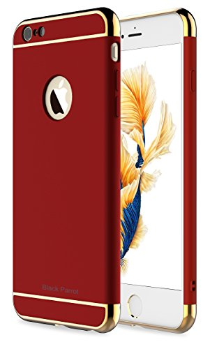 iPhone 6 Plus Case, Black Parrot 3 In 1 Ultra Thin and Slim Hard Case Coated Non Slip Matte Surface with Electroplate Frame for Apple iPhone 6 Plus(5.5') and iPhone 6S Plus(5.5') -- Red & Gold