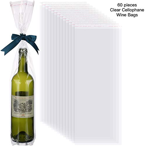 60 Pieces Clear Cellophane Wine Bags OPP Clear Wine Bottle Bags for Party Wine Bottle Gift Wrapping Supplies
