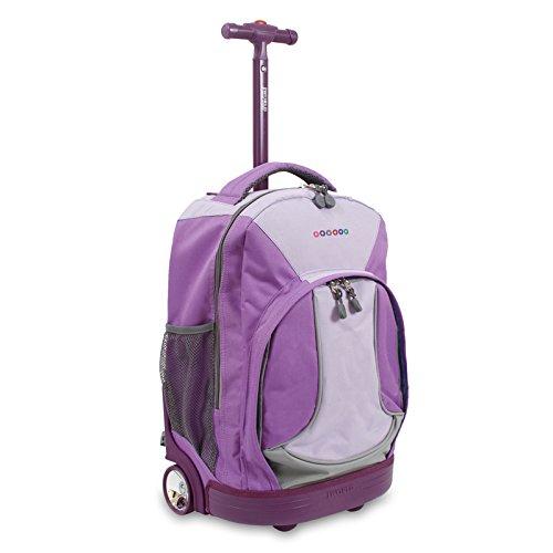 J World New York Sunday Rolling Backpack, Purple