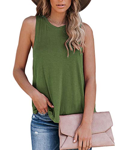 Eanklosco Womens Summer Sleeveless Trendy Basic Tank Tops Round Neck Casual Loose Tunic(Army Green,M)