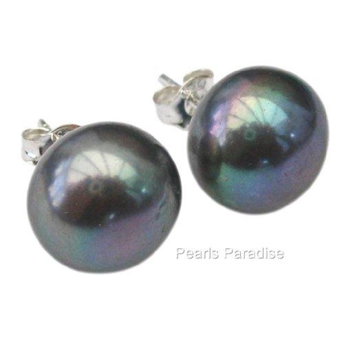 Peacock (Black) Cultured Pearl Silver 925 Stud Earrings