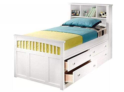 NCF Furniture Beatrice Youth Twin Captain's Bed in White Finish ()