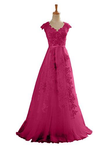 Jugendweihe Ballkleider Partykleider Pink Charmant Damen Brautmutterkleider Spitze Bodenlang Abendkleider Kleider XCfwq