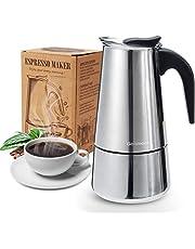Godmorn spishäll, espressobryta, italiensk kaffebryggare moka-kruka, 200 ml/4 kopp (espressokopp = 50 ml), 430 rostfritt stål klassisk kaffebryggare, lämplig för induktionsspisar