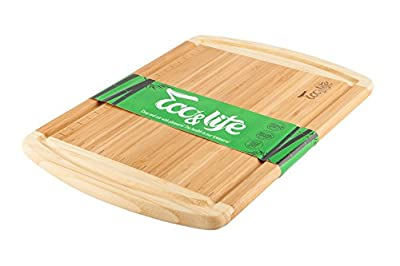 Eco&Life Bamboo Cutting Board with Groove - Professional Grade Cutting Board Features Engraved Measurements For Meat and Veggie Prep Fine Cuts - Perfect Size, Thick, Eco-Friendly