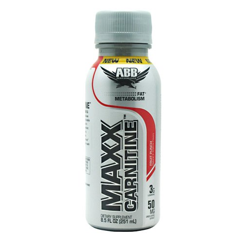 ABB Maxx Carnitine - Fruit Punch - Fat Metabolism - 3G L-Carnitine - 50MG Green Coffee Extract - 12 - 8.5 FL OZ Bottles