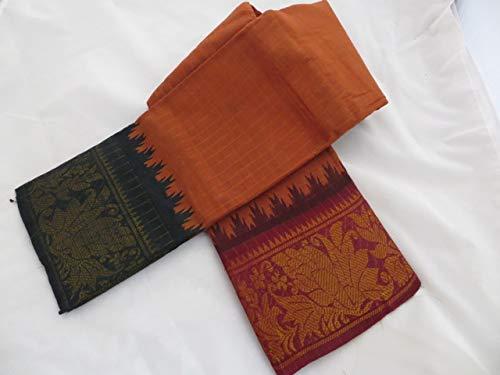 Madurai Sungudi Cotton Saree with chocolate brown body and Ganga