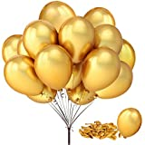 "Fecedy 100pcs/pack 12"" Gold Shiny Balloons for Party Decoration 12 inches"