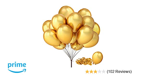 Amazon Com Fecedy 100pcs Pack 12 Gold Shiny Balloons For Party Decoration 12 Inches Toys Games
