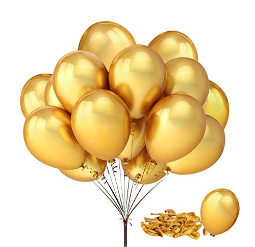 Fecedy 100pcs/pack 12 Gold Shiny Balloons for Party Decoration 12 inches