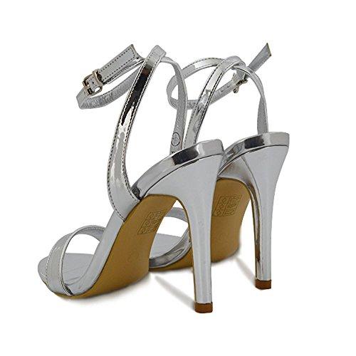 Toe Donna Cinturino Sintetico Caviglia Sandalo Stiletto Argento alla GLAM Peep Metallizzato ESSEX qS6awa