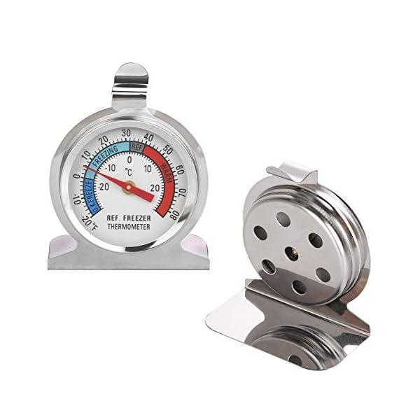 Thlevel Termometro da Frigo in Acciaio INOX Termometro per Congelatore e Frigorifero con Gancio per Appendere per Casa… 2