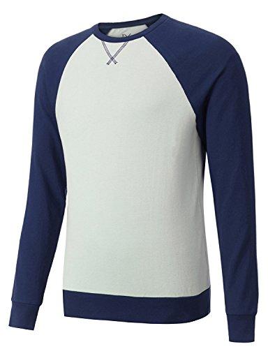 (Regna X Basic Men's Workout Active Raglan Pullover Sweatshirts Navy Medium)