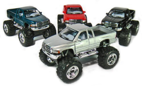 """Set of 4: 5"""" Dodge Ram 4x4 Monster Truck 1:44 Scale (Black/Green/Red/Silver)"""